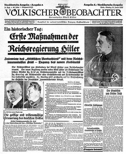 Portada del Völkischer Beobachter del 31 de enero de 1933