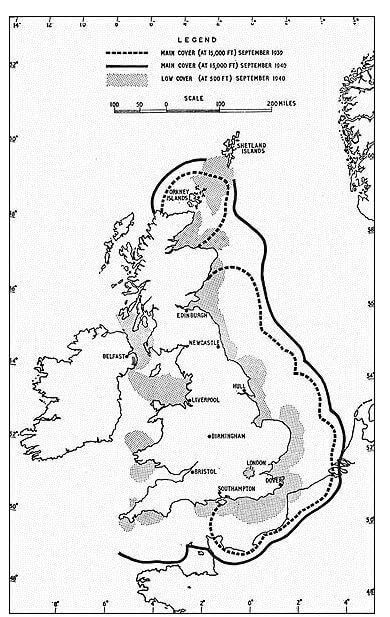 Cobertura de radar en las Islas Británicas durante la Segunda Guerra Mundial